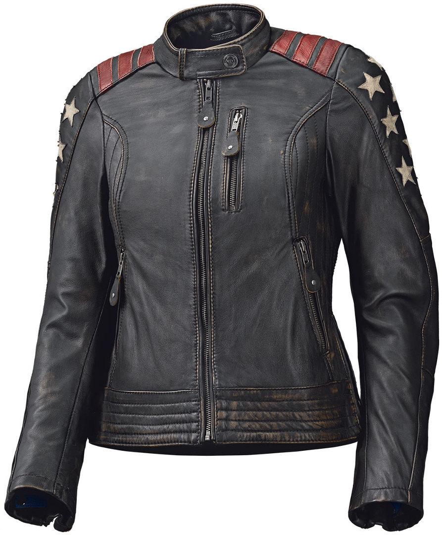 Held Laxy Damen Motorrad Lederjacke Schwarz Rot 34